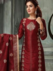 Art Silk Embroidered Readymade Suit