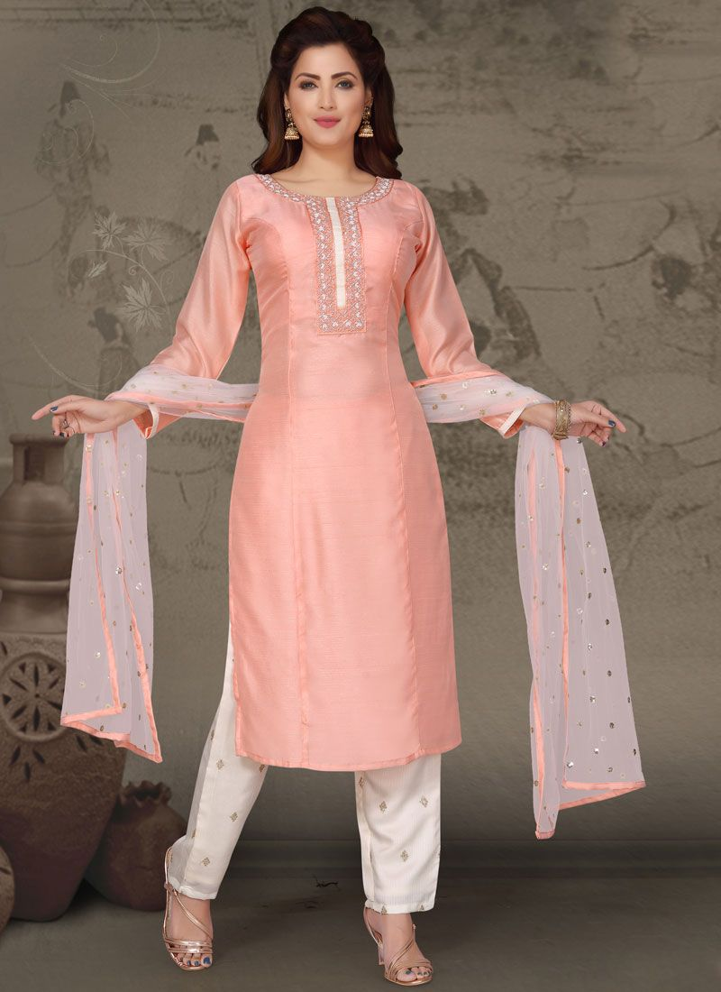 Art Silk Embroidered Readymade Suit in Pink