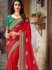 Art Silk Embroidered Red Designer Traditional Saree
