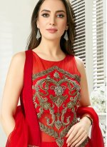 Art Silk Embroidered Red Readymade Gown