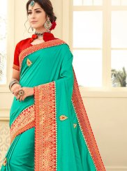 Art Silk Embroidered Sea Green Designer Traditional Saree