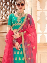 Art Silk Embroidered Sea Green Lehenga Choli