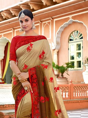 Art Silk Embroidered Shaded Saree in Cream and Green