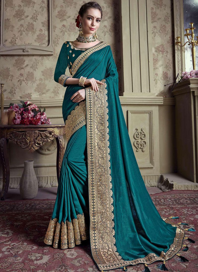 Art Silk Embroidered Teal Traditional Designer Saree