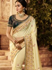 Art Silk Embroidered Traditional Designer Saree in Cream