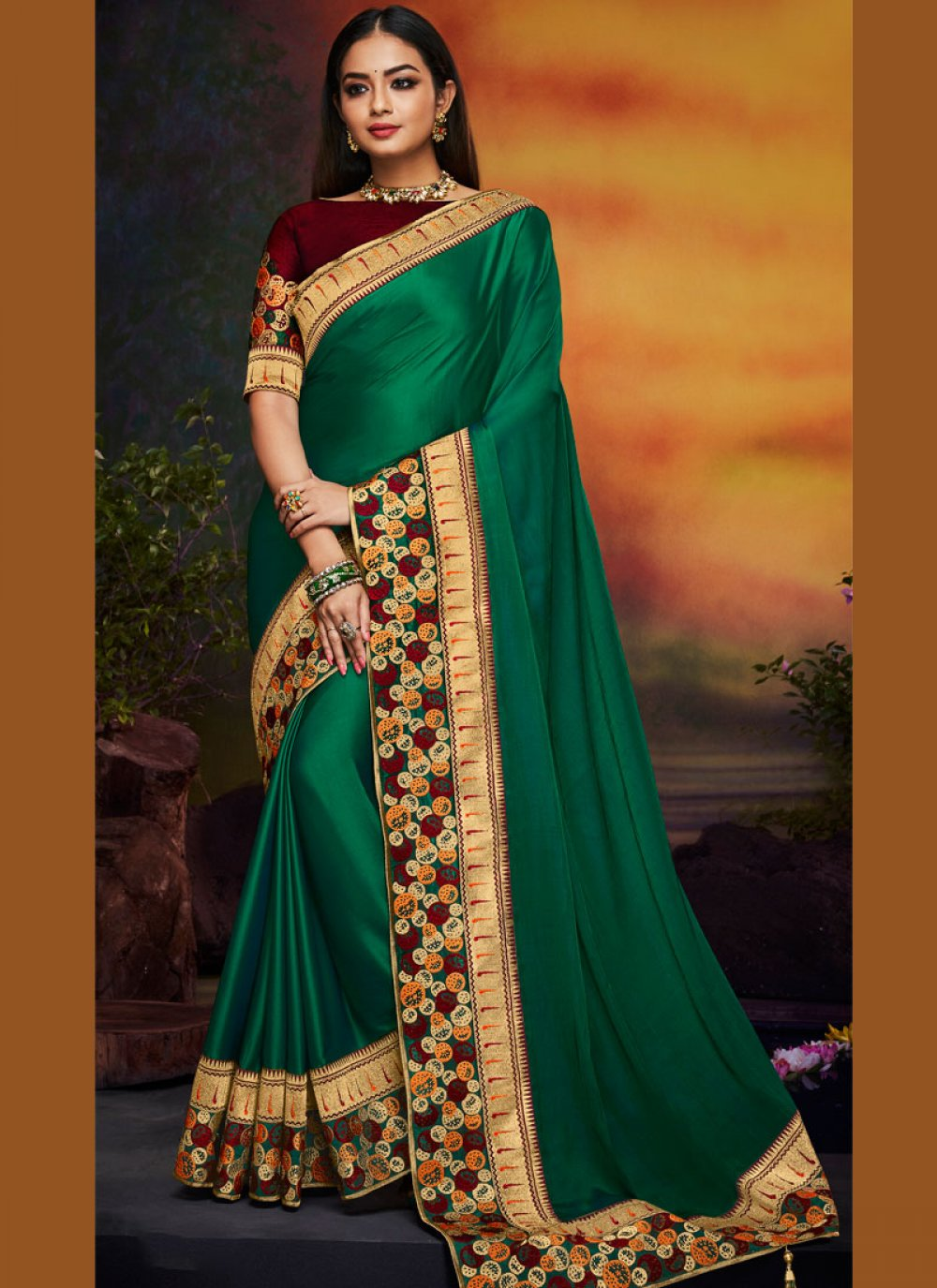 Art Silk Embroidered Traditional Saree