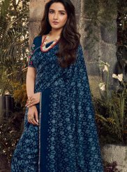Art Silk Embroidered Traditional Saree in Blue