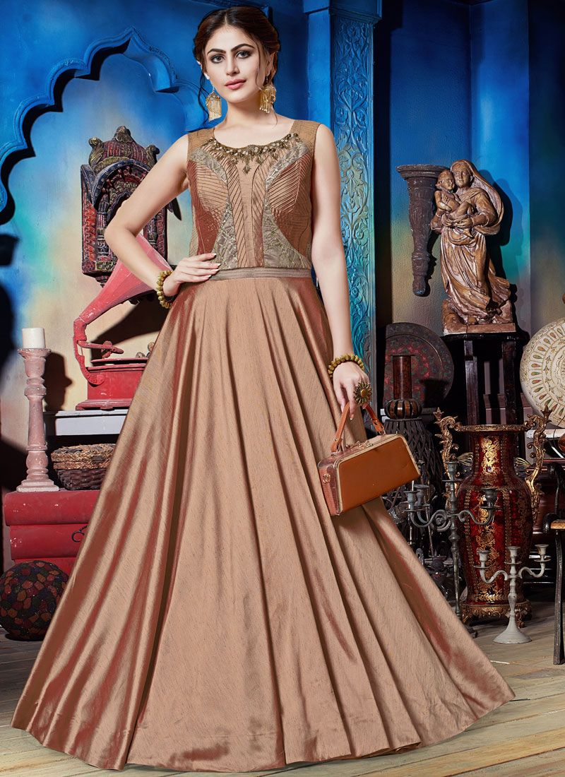 Art Silk Embroidered Trendy Gown in Brown