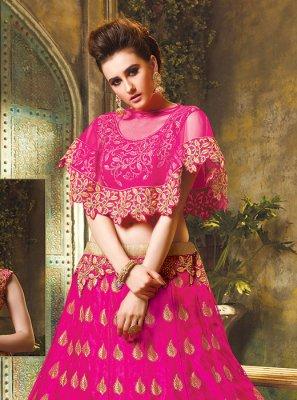 Art Silk Embroidered Trendy Lehenga Choli in Rani