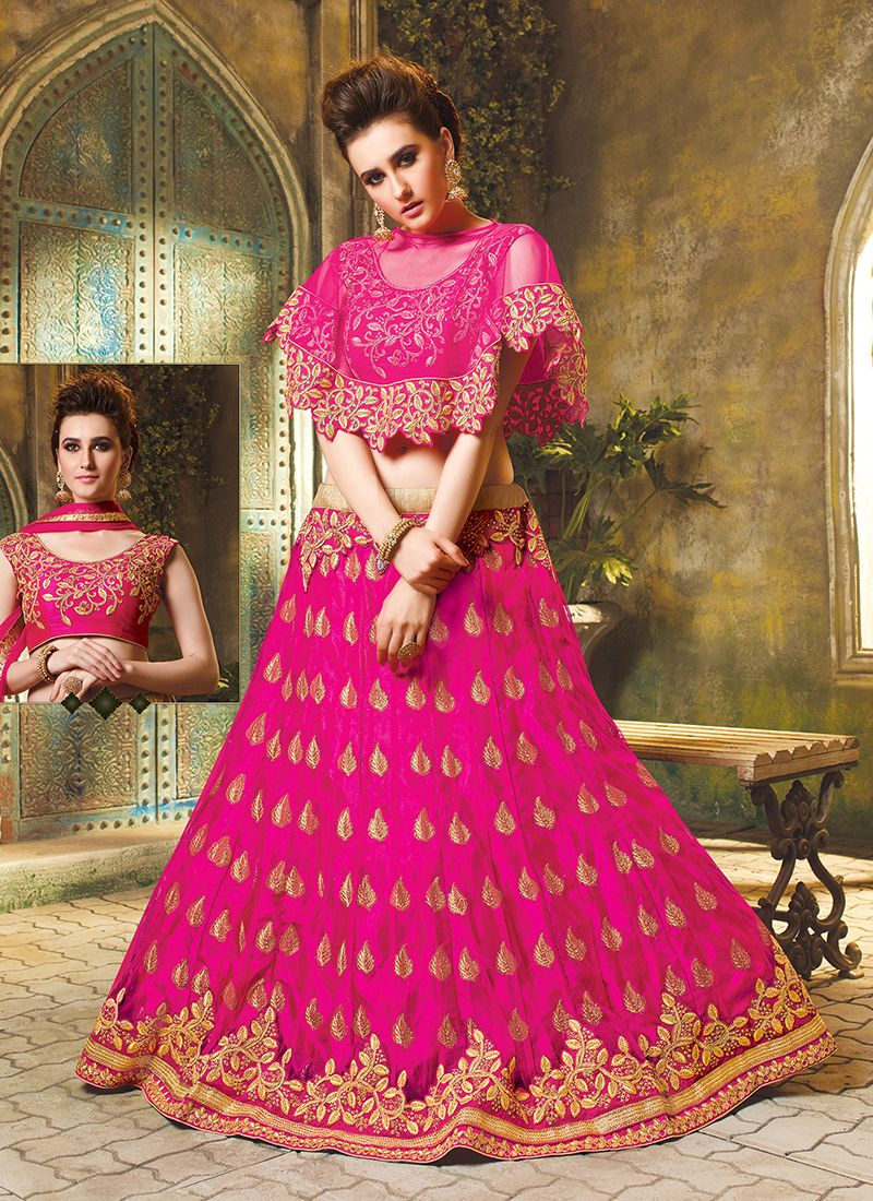 Art Silk Embroidered Trendy Lehenga Choli in Rani