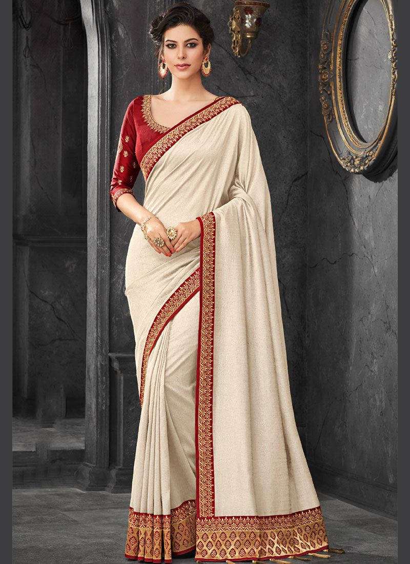 c97a6dabe459a Art Silk Embroidered White Traditional Designer Saree buy online -