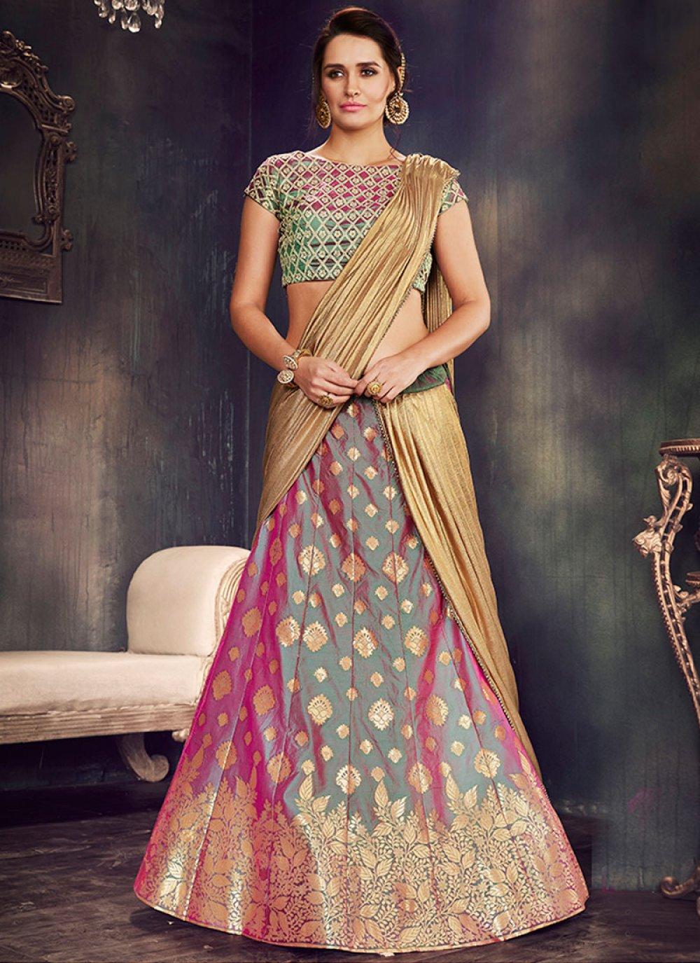 Art Silk Embroidered Work Lehenga Saree
