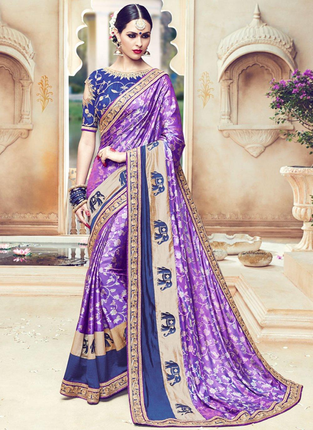 Art Silk Embroidered Work Traditional Designer Saree