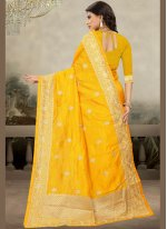 Art Silk Embroidered Yellow Classic Designer Saree