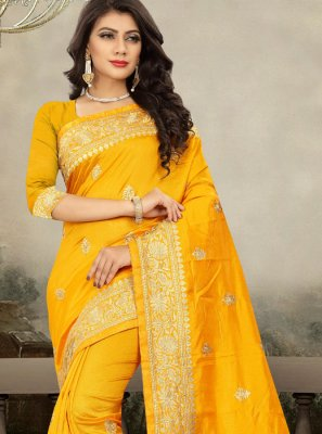 Art Silk Embroidered Yellow Classic Designer Saree