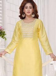 Art Silk Embroidered Yellow Readymade Suit