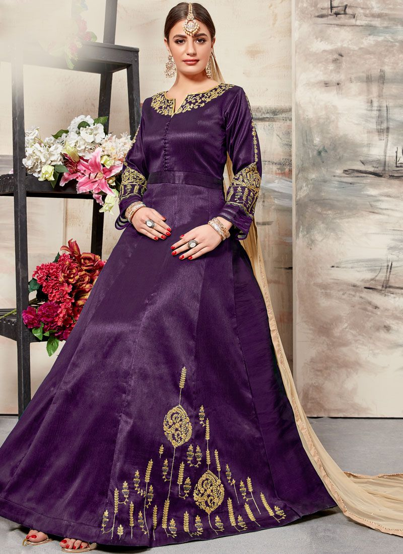 Art Silk Floor Length Anarkali Suit