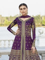 Art Silk Floor Length Anarkali Suit in Purple