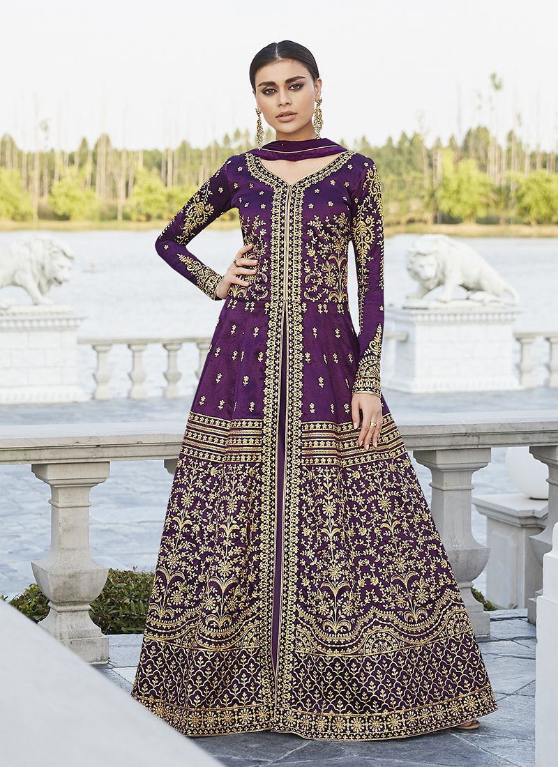 Art Silk Floor Length Anarkali Suit in Purple