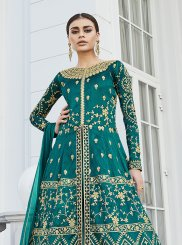 Art Silk Floor Length Anarkali Suit in Sea Green