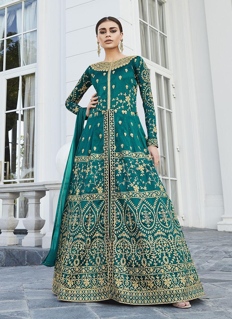 Art Silk Floor Length Anarkali Suit in Sea Green