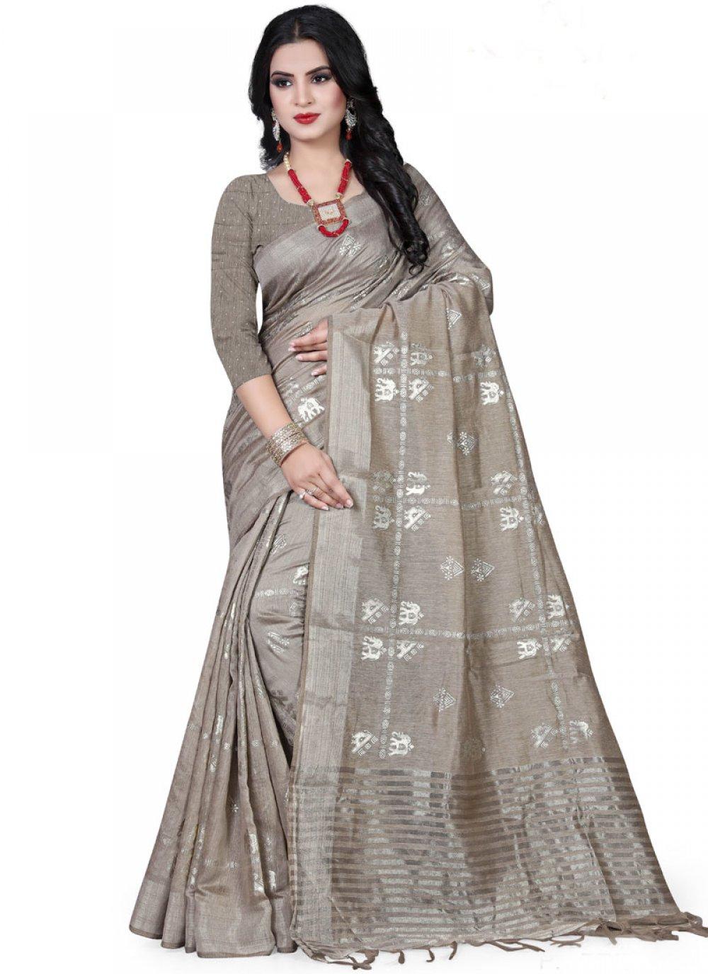 Art Silk Foil print Grey Traditional Designer Saree