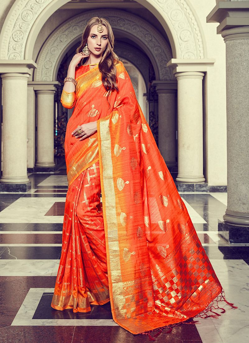 Art Silk Foil print Orange Trendy Saree