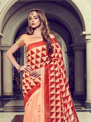 Art Silk Foil print Peach Trendy Saree
