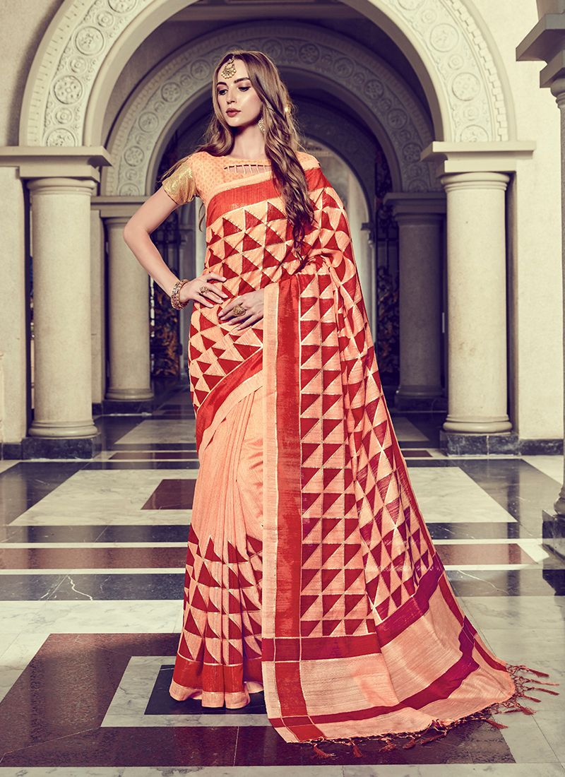 Art Silk Foil print Peach Trendy Saree