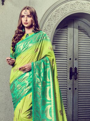 Art Silk Foil print Trendy Saree