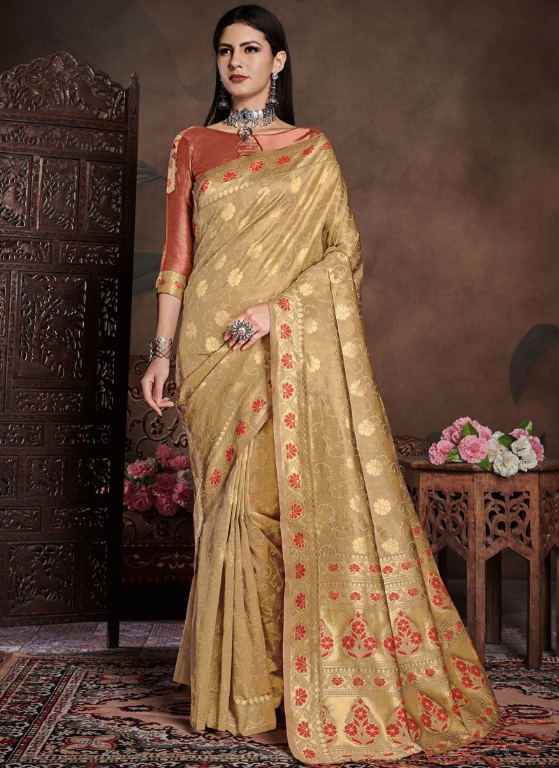 Art Silk Gold Casual Saree
