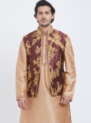 Art Silk Gold Kurta Payjama With Jacket
