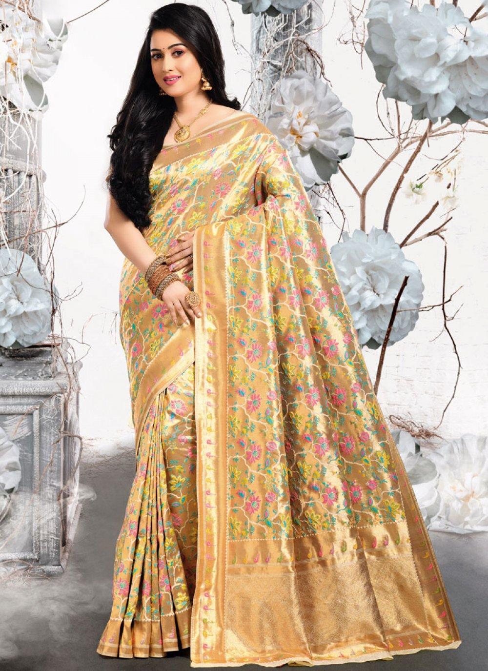 Art Silk Gold Traditional Designer Saree