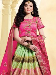 Art Silk Green and Hot Pink Embroidered Lehenga Choli