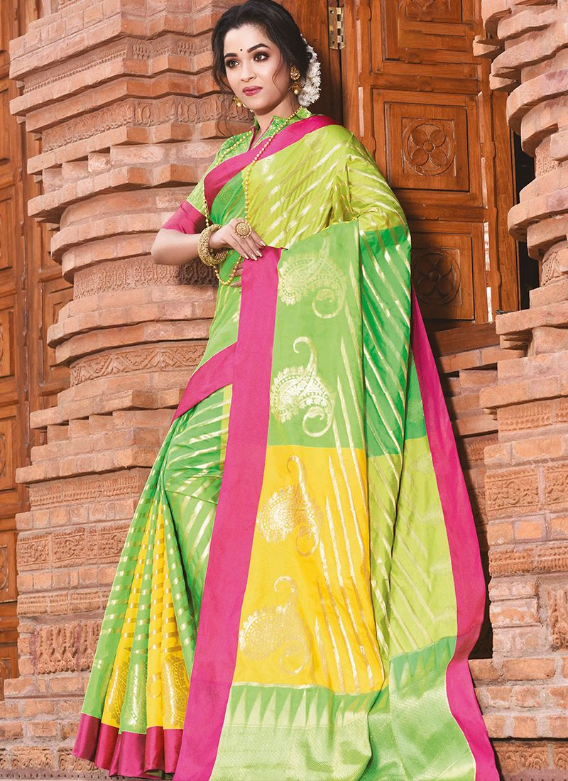 Art Silk Green and Yellow Weaving Traditional Designer Saree