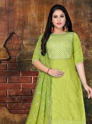 Art Silk Green Designer Salwar Kameez