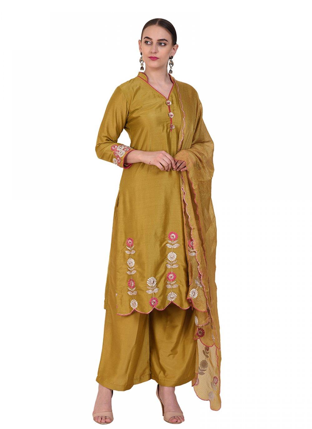 Art Silk Mustard Designer Suit