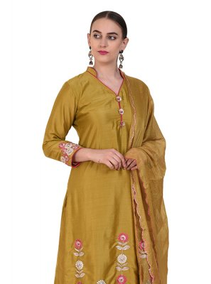 Art Silk Mustard Designer Suit