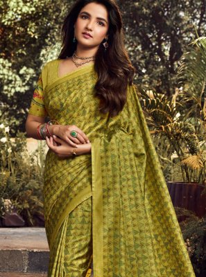 Art Silk Green Embroidered Classic Designer Saree