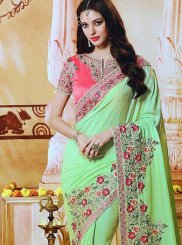 Art Silk Green Embroidered Classic Saree
