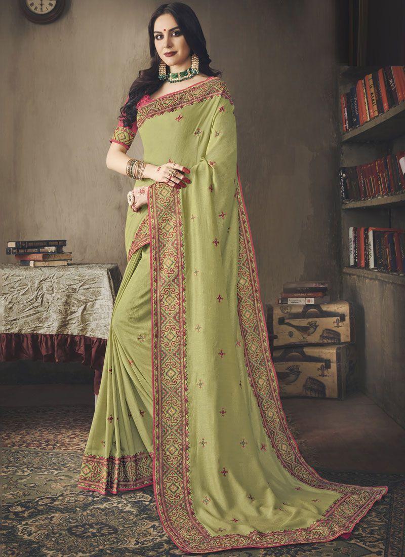 Art Silk Green Embroidered Designer Saree