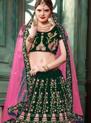 Art Silk Green Embroidered Lehenga Choli