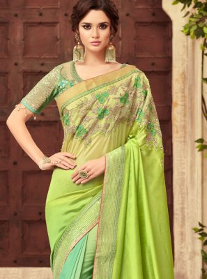 Art Silk Green Embroidered Shaded Saree