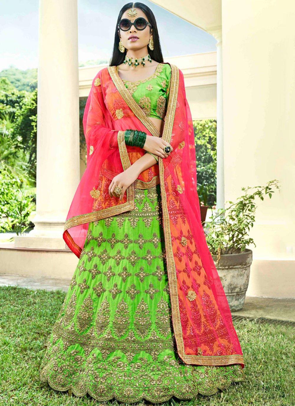 Art Silk Green Lehenga Choli