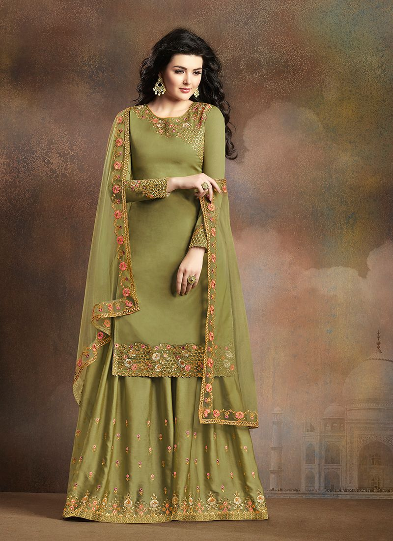 Art Silk Green Palazzo Designer Suit