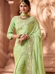 Art Silk Green Patch Border Designer Traditional Saree