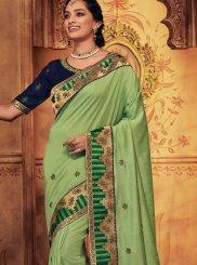Art Silk Green Patch Border Designer Traditional Saree