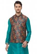 Art Silk Green Plain Kurta Payjama With Jacket