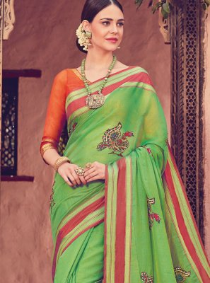 Art Silk Green Print Traditional Saree