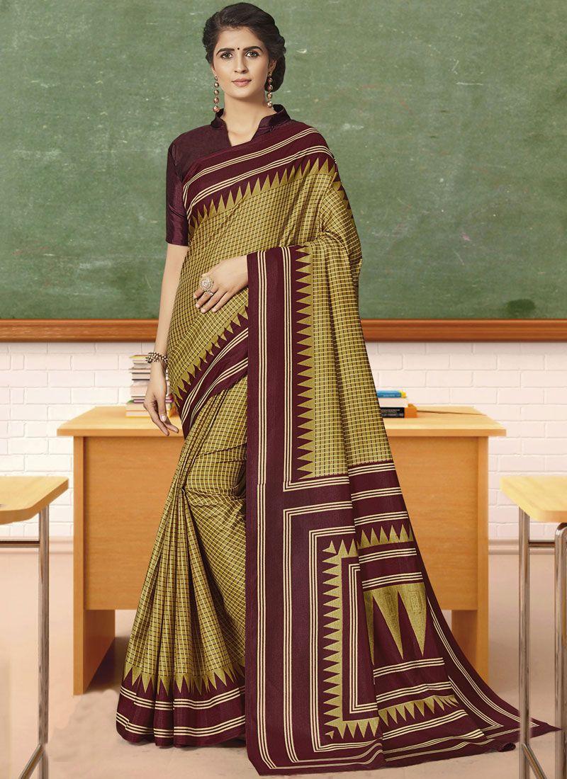 Art Silk Green Print Traditional Saree